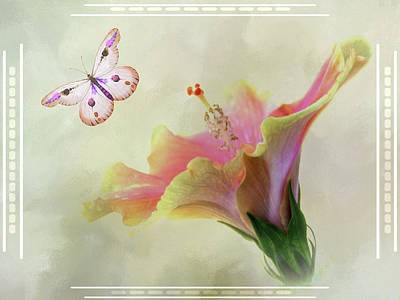 Butterfly Hibiscus Art II Art Print
