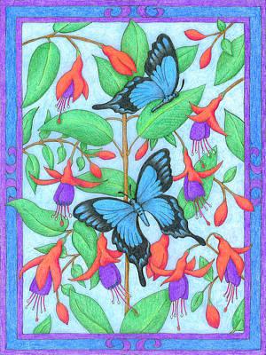 Butterfly Idyll-fuchsias Art Print