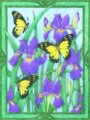 Butterfly Idyll-irises Art Print