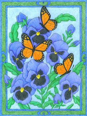 Butterfly Idyll-pansies Art Print