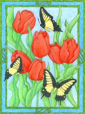 Butterfly Idyll-tulips Art Print