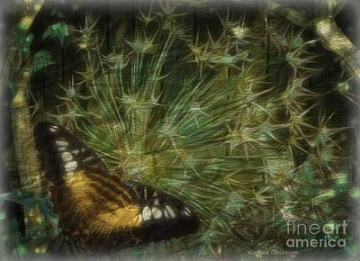 Photograph - Butterfly In Allium - 1 by Kathie Chicoine
