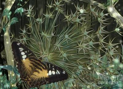 Photograph - Butterfly In Allium by Kathie Chicoine