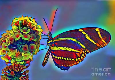 Digital Art - Butterfly In Sweetland by Wernher Krutein
