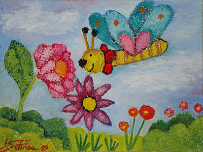 Butterfly In The Field Art Print by Ioulia Sotiriou
