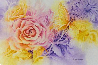 Butterfly-in-the-garden Art Print by Nancy Newman