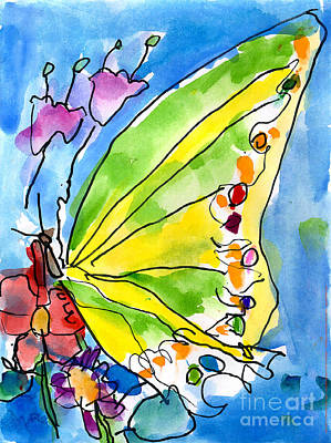 Watercolor Flower Painting - Butterfly by Jeffrey Shutt Age Six
