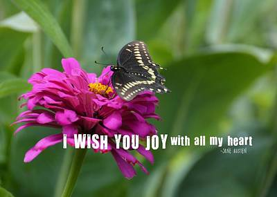 Photograph - Butterfly Joy Quote by JAMART Photography