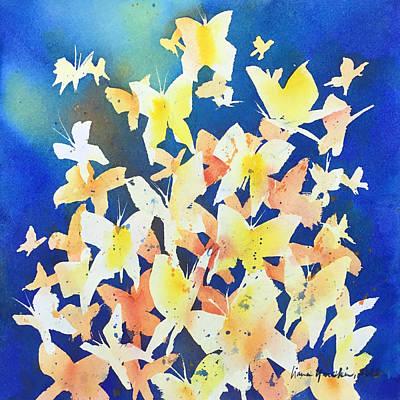 Painting - Butterfly Kaliedoscope - Blue by Liana Yarckin