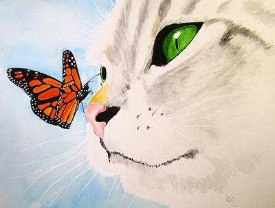 Gray Tabby Painting - Butterfly-kissed Grey Tabby by Carol Blackhurst