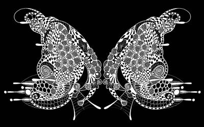 Abstract Drawing - Butterfly Kisses by Marian Fannon Christian