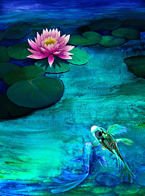 Butterfly Koi In A Lily Pond Art Print