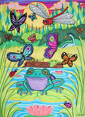 Herons Drawing - Butterfly Lake by Nick Gustafson