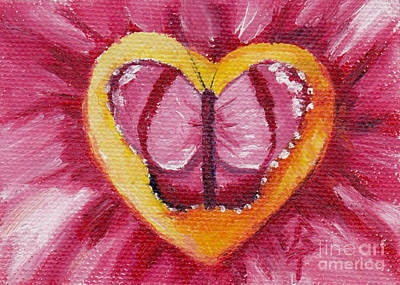 Painting - Butterfly Love Aceo by Brenda Thour