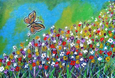Painting - Butterfly Meadow by Manjiri Kanvinde