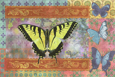 Butterfly Flowers Painting - Butterfly Mosaic by JQ Licensing