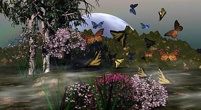 Butterfly Mountain Art Print by Eva Thomas