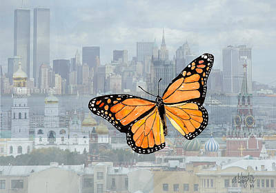 Butterfly Mixed Media - Butterfly-ny And Russia Skylines Montage by Arline Wagner