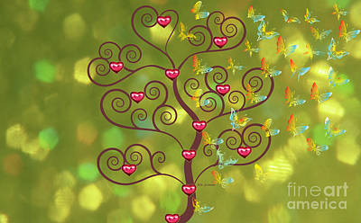 Butterfly Of Heart Tree Art Print