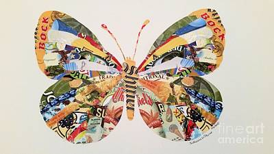 Beer Mixed Media - Butterfly of Labels by Katherine W Morse