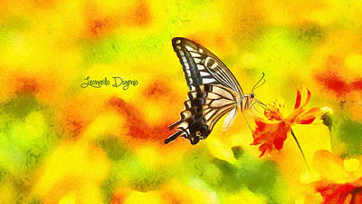Yellow Primrose Painting - Butterfly On Flower by Leonardo Digenio