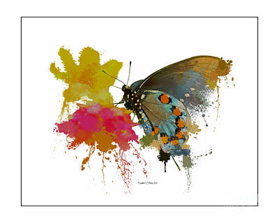 Photograph - Butterfly On Lantana - Splatter Sillhouette by Debbie Portwood