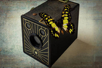 Aperture Photograph - Butterfly On Old Camera by Garry Gay