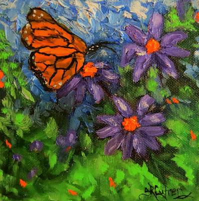 Painting - Butterfly On Purple Flowers by Sandra Cutrer