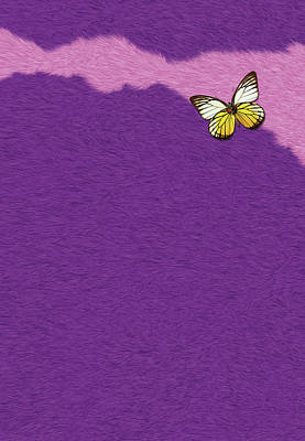 Libellule Painting - Butterfly On Purple Fur by Pascal VERSAVEL