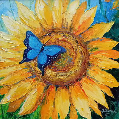 Butterfly On Sunflower Print by Olha Darchuk