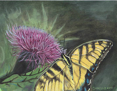 Butterfly On Thistle 2010 Art Print by Cheryl Johnson