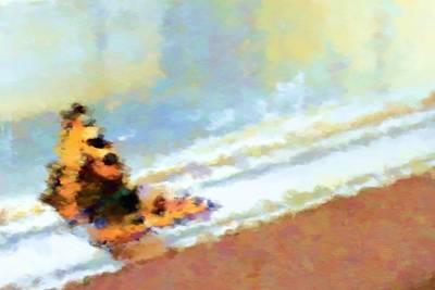 Fuzzy Digital Art - Butterfly On Window Frame by Lenka Rottova