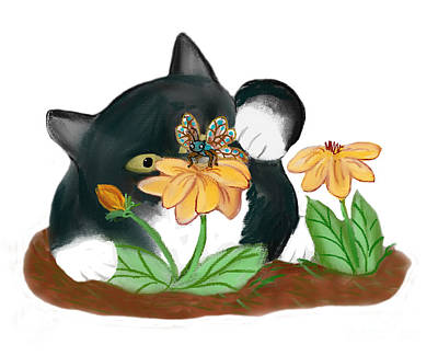Cat And Butterfly Digital Art - Butterfly On Yellow Flowers Temps Kitty by Ellen Miffitt