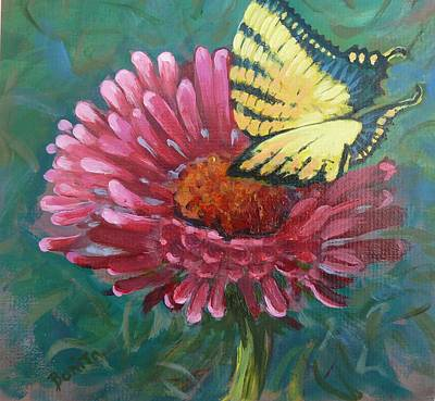 Painting - Butterfly On Zinnia  by Bonita Waitl