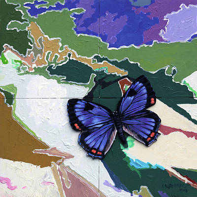 Painting - Butterfly Over Great Lakes by John Lautermilch