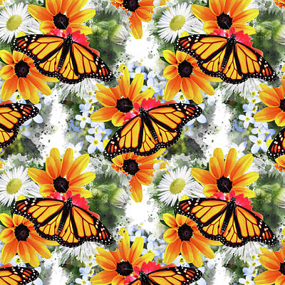 Print featuring the mixed media Butterfly Pattern by Christina Rollo