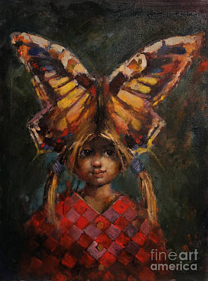 Childrens Story Book Painting - Butterfly Princess by Michal Kwarciak