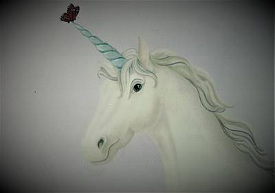 Painting - Butterfly Resting On Unicorn by Suzn Art Memorial