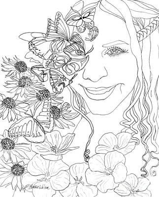 Drawing - Butterfly Runner by D Renee Wilson