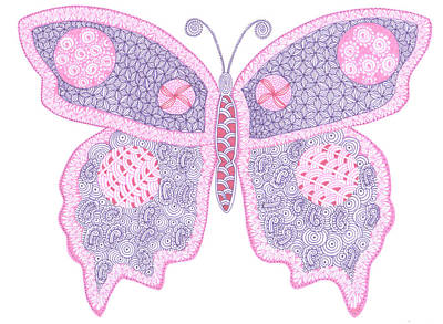 Zentangles Drawing - In The Struggle You Find Your Wings by Sharon White
