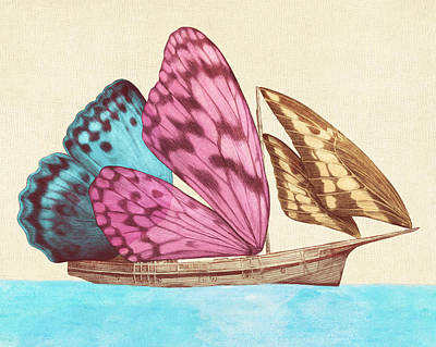 Blue Drawing - Butterfly Ship by Eric Fan