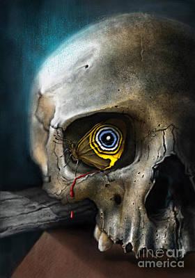 Butterfly Skull Art Print by Andre Koekemoer