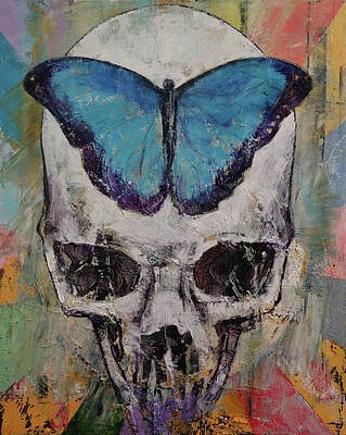 Surrealistic Painting - Butterfly Skull by Michael Creese