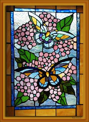 Tom Woolworth Digital Art - Butterfly Stained Glass Window by Thomas Woolworth