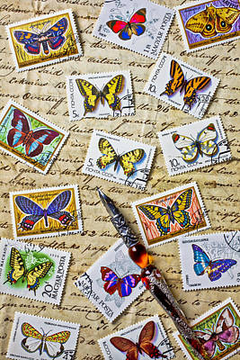 Butterfly Stamps And Old Document Art Print