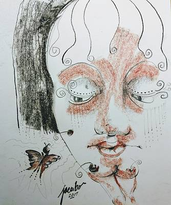 Nude Drawing - Butterfly Stare by Jacabo Navarro