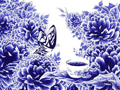 Drawing - Butterfly Teatime by Alice Chen