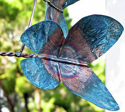 Kinetic Copper Wind Sculpture - Butterfly Wind Sculpture Detail by Rick Hewitt