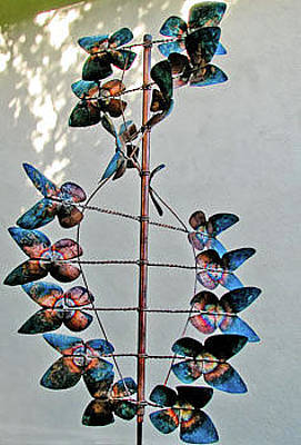 Kinetic Copper Wind Sculpture - Butterfly Wind Sculpture by Rick Hewitt