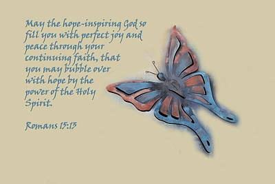 Butterfly With Scripture Art Print by Linda Phelps